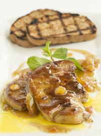Pan fried Foie Gras with orange sauce, served with einkorn bread 220g